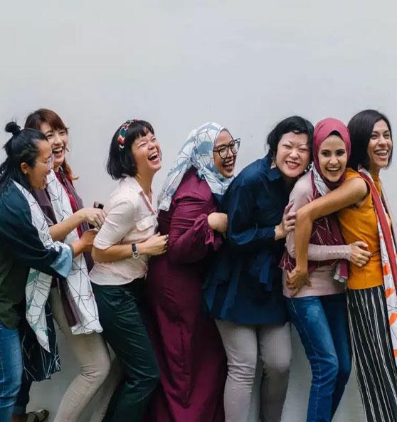 Seven Women showing confidence